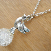 Peace Dove Bird White Crackle Glass Marble Necklace