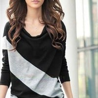 Women/Ladies Batwing Long Sleeve Casual Loose Top Stripe T-Shirt Blouse 4 Colors