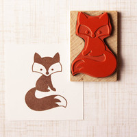 Sly Fox Rubber Stamp, Handmade Woodland Stamp, Wood Mounted