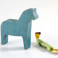 Scandinavian Dala horse wooden toy decor for Christmas, rustic blue