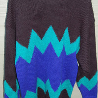 Vintage 80s Oversize Black Aqua &amp; Electric Blue Chevron Sweater Size Large