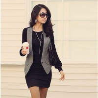 New Korea Women Sexy Round Crew Neck Long Sleeve Casual Mini Dress OL Cocktail