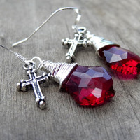 Sterling Silver Ruby Red Pink Crystal Wire Wrapped Dangle Cross Earrings Christian Religious Jewelry