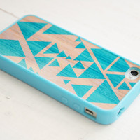 iPhone 4, 4S Case - Triangle Geometric / Teal on Wood