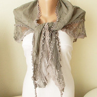 Gray Color Scarf from %100 coton with lace  desing and tulle