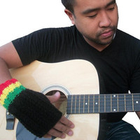 Rasta Fingerless Gloves Hand knit black men's by littlexbekahxbug