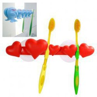 Red Sweet Five-Heart Bathroom Four Toothbrushes Holder with Two Suction Cups China Wholesale - Sammydress.com