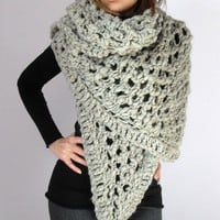 SERENA Knit Lace Shawl Wrap by Silvia66 on Etsy