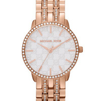 Michael Kors Mid-Size Rose Golden Stainless Steel Lady Nini Three-Hand Glitz Watch - Michael Kors
