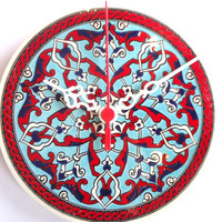 Wall Clock, Anatolian and Ottoman patterns,Ceramic Turkish tile..  2013 chirstmas gift