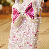 iPhone4 3GS Pearls Bow Girlfriend Birthday Gift Cover - GULLEITRUSTMART.COM