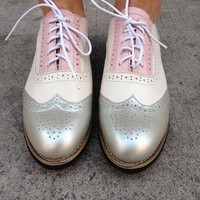 Leather Metallic Colour Block Lace-up Shoes from Handpicked
