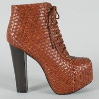 Leah-90 Woven Leatherette Lace Up Bootie