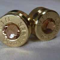 Bullet Earrings. November Birthstone . Topaz . 9mm Luger. FREE SHIPPING