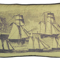 sailboat linen pillow by kevin o'brien in aquarium - ABC Carpet & Home