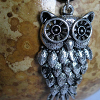 Owl Silver Necklace Black Leather Pendant by NewToYouJewelry