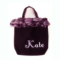 Girl's Personalized Tote, Dance Bag Purple and Black