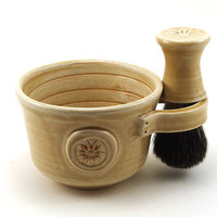 Womens Shaving Set, Cream Flower Shave Mug, Shaving Bowl, Handmade Black Badger Hair Shave Brush and Shave Soap, Gift for Women