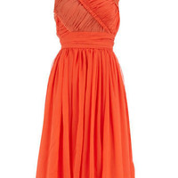Orange ruched 50s dress - New In Clothing - What&#x27;s New - Dorothy Perkins