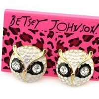 2012 NEW Betsey Johnson delicate cute retro Stud The owl Earrings Gift