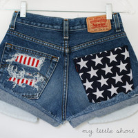 High Waisted Distressed Stars and Stripes Pocket Levi&#x27;s Shorts (Size 26) - HOLD FOR DEJA