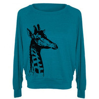 Womens Sweatshirt GIRAFFE Tri-Blend Pullover - American Apparel - S M L (8 Color Options)