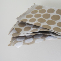 brown and white spotted Handmade PAPER- Natural Recycled Paper, cardstock weight. 3 sheets
