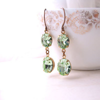 Celery Wedding earrings with vintage Swarovski chrysolite rhinestones