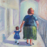 Original 8x10 inch print. Walking with Christine. Grandmother and grandchild pure love walking together