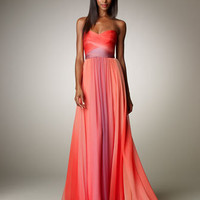 Monique Lhuillier - Ombre Ruched Gown - Bergdorf Goodman