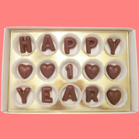 Happy 1 Year Large Milk Chocolate Letters-Anniversary Gift for Husband Wife Couple-Made to Order