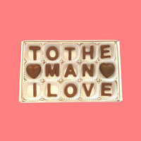 To The Man I Love Milk Chocolate Letters-Anniversary Valentines Gift for Husband Boyfriend Him-Made to Order
