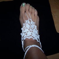 White Crochet Barefoot Sandals on Luulla