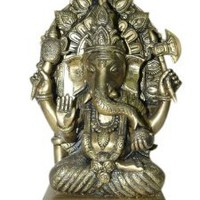 Amazon.com: Hindu God Sitting Ganesha Brass Murti Alter Idol Chaturbhuja Ganesh Statue 13 Inch: Home & Kitchen