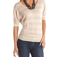 Button-Back Lurex Hacci Sweater: Charlotte Russe