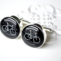Vintage bike cufflinks - keepsake gift for him on wedding day or any day - black and white modern cuff links