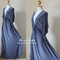 Long Grey Kimono Butterfly Tube Maxi Dress Elegant by madoosika