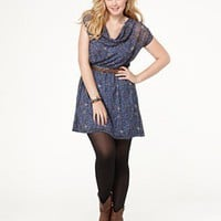 Eyeshadow Plus Size Dress, Short Sleeve Printed Belted Cowlneck - Plus Size Dresses - Plus Sizes  - Macy's