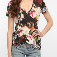 BDG Printed Sheer V-Neck Tee