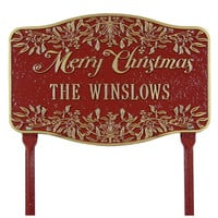 American-Made Personalized Merry Christmas Yard Sign In Cast Aluminum - Plow & Hearth