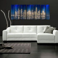 "All My Walls Abstract by Ash Carl Metal Wall Art in Blue and Silver - 23.5"" x 60"" - SWS00066 - All Wall Art - Wall Art & Coverings - Decor"