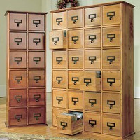 Retro-Style Wooden Multimedia Library File Cabinets - Plow &amp; Hearth
