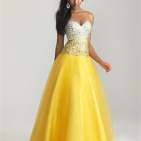Ball Gown Strapless Sweetheart Beaded Bodice Tull Prom Dress PD2067