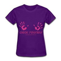 Check Yourself - For breast cancer awareness Women&#x27;s T-Shirts | Women&#x27;s Standard Weight T-Shirt designed by RedCrownClothing | Spreadshirt  | ID: 7193936