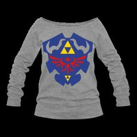 Much Needed Merch | Hylian Shield Womens Wide Neck Sweatshirt S-XXL | Online Store Powered by Storenvy