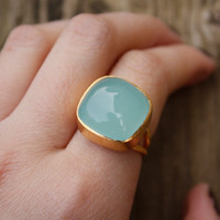 BLACK FRIDAY SALE Sea Foam Green Aqua Chalcedony Ring - Cushion Cut - Adjustable Ring, Dreamy