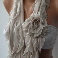 NEW  Elegant Scarf - Gorgeous  Accessories  Beige ...It made with good quality chiffon fabric
