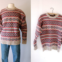 Vintage 80's men's Fair Isle wool Eddie Bauer Nordic sweater