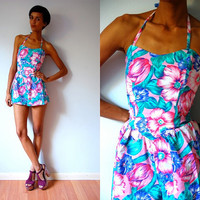 Vtg Tropical Floral Print Halter Strapless Playsuit