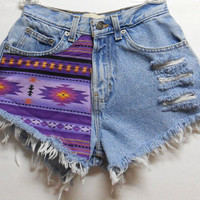 Vintage  High Waist   Denim Shorts Southwestern Print  Waist 24   inches